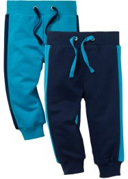 Pantalone in felpa (pacco da 2) cotone biologico, bpc bonprix collection, Blu scuro / turchese scuro