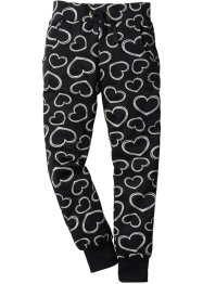 Pantalone di felpa, bpc bonprix collection, Nero fantasia a cuori