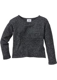 Pullover ampio, bpc bonprix collection, Antracite melange / bianco panna melange