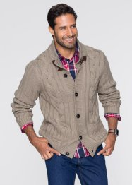 Cardigan con trecce regular fit, bpc bonprix collection, Marroncino