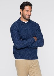 Pullover con collo a scialle regular fit, bpc bonprix collection, Blu scuro melange