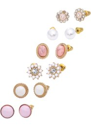 Set di orecchini (set 12 pezzi), bpc bonprix collection, Color oro / rosa