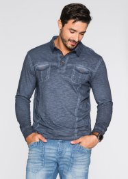 Polo a manica lunga regular fit, bpc bonprix collection, Blu scuro