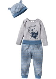 Body a manica lunga + pantalone + berretto (set 3 pezzi) in cotone biologico, bpc bonprix collection