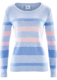 Pullover a righe, bpc bonprix collection, Blu perlato a righe