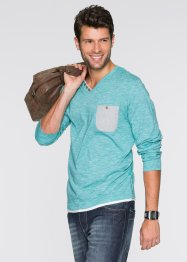 Maglia con scollo a V regular fit, bpc bonprix collection, Verde smeraldo