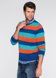 Pullover a righe regular fit, bpc bonprix collection, Blu a righe