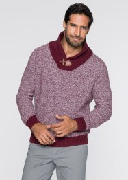 Pullover con collo a scialle regular fit, bpc bonprix collection, Rosso acero
