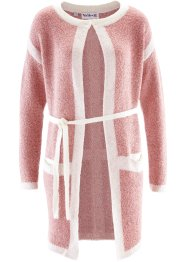 Cardigan lungo Maite Kelly, bpc bonprix collection, Rosa perlato / bianco panna