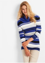 Pullover a collo alto, bpc bonprix collection, Zaffiro a righe
