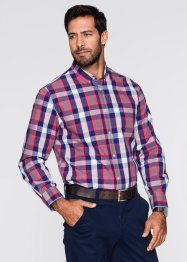 Camicia a manica lunga regular fit, bpc selection, Verde azzurro a quadri