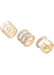 Anelli con strass (set 3 pezzi), bpc bonprix collection