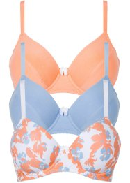 Reggiseno (pacco da 3), bpc bonprix collection, Fantasia + blu + papaya