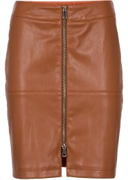 Gonna in similpelle con inserto di jersey, BODYFLIRT, Cognac