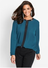 Blusa, bpc selection, Petrolio scuro / nero
