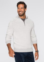 Pullover con cerniera regular fit, bpc selection, Grigio chiaro / ecru