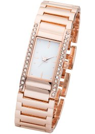 Orologio in metallo con strass, bpc bonprix collection, Color oro rosato