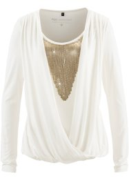 Blusa in maglina con paillettes, bpc selection, Bianco panna / oro