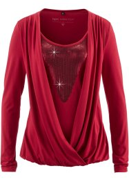Blusa in maglina con paillettes, bpc selection, Rosso scuro