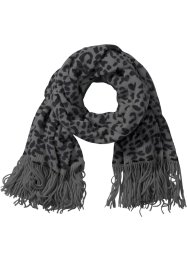 Sciarpa leopardata, bpc bonprix collection, Nero / grigio