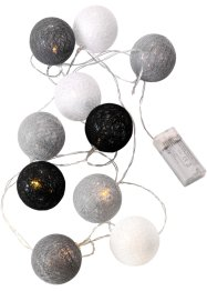 "Catena luminosa a LED ""Cotton Balls"" grigia, bpc living, Grigio / crema"