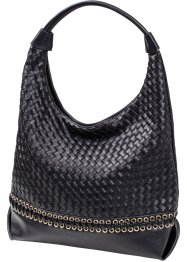 Borsa shopper intrecciata con occhielli, bpc bonprix collection, Nero
