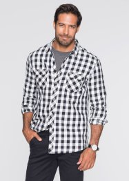 Camicia a manica lunga regular fit, bpc bonprix collection, Nero a quadri