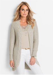 Cardigan con lurex, bpc selection, Ecru / argento