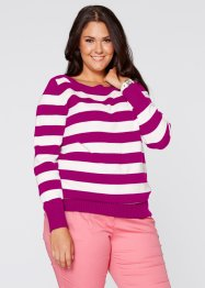 Pullover, bpc bonprix collection, Orchidea / bianco panna a righe