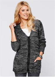 Cardigan a manica lunga, bpc bonprix collection, Nero / bianco panna melange