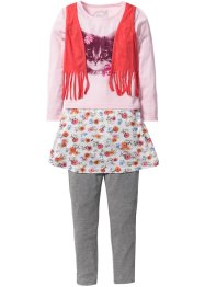 Maglia con gilet + gonna + leggings (set 3 pezzi), bpc bonprix collection, Rosa cipria fantasia