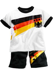 "T-shirt  + bermuda  ""Europeo"" (set 2 pezzi), bpc bonprix collection, Bianco / Germania"