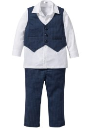 Camicia + gilet + pantalone (set 3 pezzi), bpc bonprix collection, Blu scuro / bianco