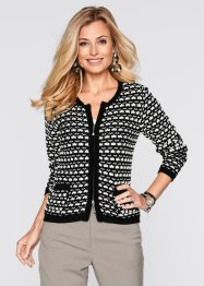 Cardigan, bpc selection, Nero / ecru jacquard