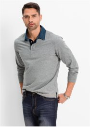 Polo a manica lunga regular fit, bpc bonprix collection, Grigio chiaro melange