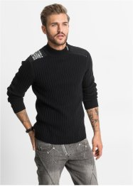 Pullover slim fit, RAINBOW, Nero