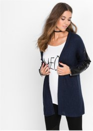 Cardigan con similpelle, RAINBOW, Blu scuro / nero