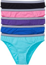 Slip (pacco da 5), bpc bonprix collection, Nero + bluette + viola + acqua + rosa acceso