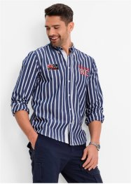 Camicia a righe regular fit, bpc bonprix collection, Blu notte / bianco a righe