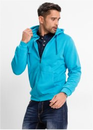 Giacca in felpa con cappuccio regular fit, bpc bonprix collection, Ecru melange / nero a righe