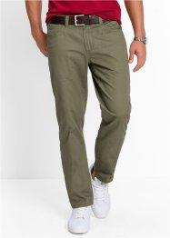 Pantalone 5 tasche regular fit straight, bpc bonprix collection, Verde oliva