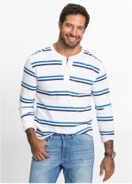 Maglia a manica lunga regular fit, bpc bonprix collection, Bianco / blu scuro / bluette a righe
