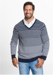 Pullover a righe con scollo a V regular fit, bpc bonprix collection, Blu scuro / bianco a righe