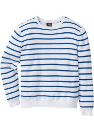 Pullover a righe regular fit, bpc bonprix collection, Bianco / bluette a righe