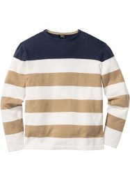 Pullover a righe larghe regular fit, bpc bonprix collection, Blu scuro / bianco panna / beige a righe