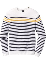 Pullover slim fit, RAINBOW, Bianco / blu scuro a righe