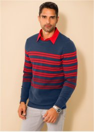 Pullover a righe regular fit, bpc selection, Blu scuro / rosso a righe
