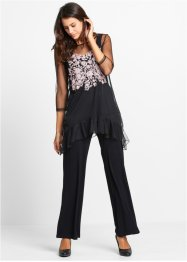 Top di maglina + pantaloni (set 3 pezzi), bpc bonprix collection, Nero a fiori