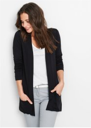 Cardigan in maglina elasticizzata, bpc bonprix collection, Nero
