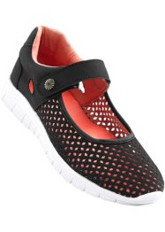 Ballerina sportiva, bpc bonprix collection, Nero / corallo